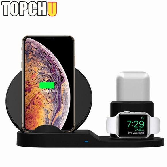 3in1 Qi Wireless Charger for Apple iPhone X 8 Plus Xr XS Max Watch 1 2 3 4 For AirPods Mobile Fast Charging Charger Holder Stand
