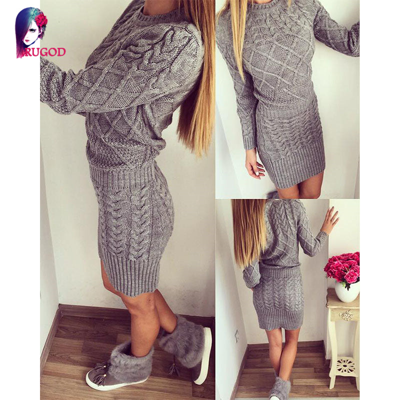 a6d44e9d9e81 ... Rugod 2018 New Patterned Women Warm Sweater Dresses Winter Knitted Dress  Female Thick High Elastic Slim ...