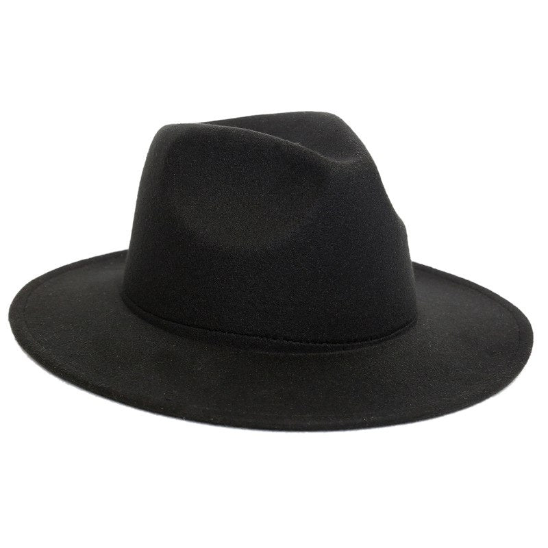 Black Women Fedoras Cap Top Vintage Hat For Girls Big Flat Brim Felt Hats  Female British 74f6a572b18