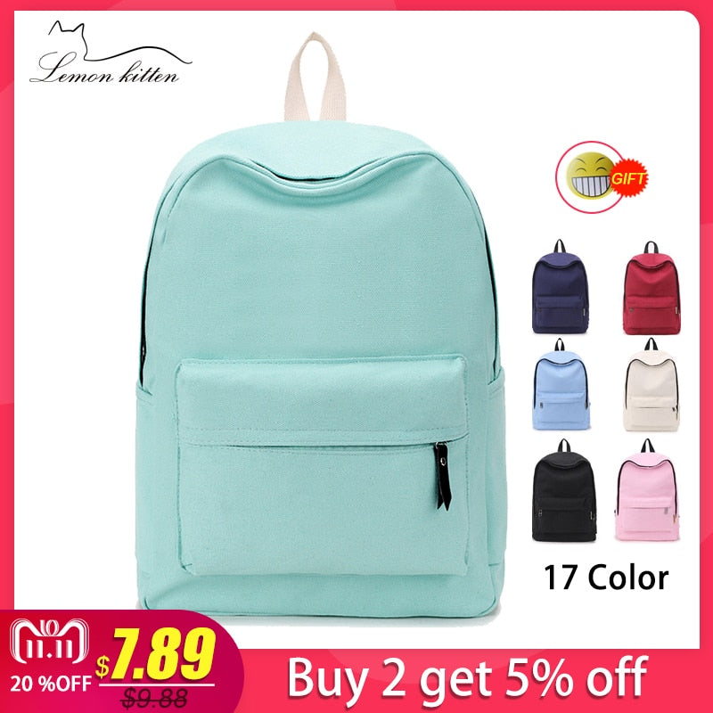 656fbe111ee2 2018 Canvas Plain Japan Style Minimalism Best Backpack For Adolescent Girl  Female New Travel Leisure Women