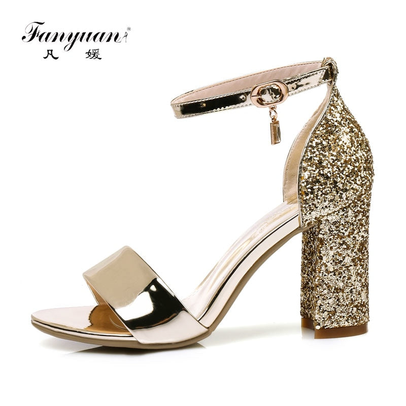 Fanyuan mature bride Wedding Glitter Sandals Summer High-Heeled Ankle strap Sandals  sexy lady Party ... 83bccbfe25d9