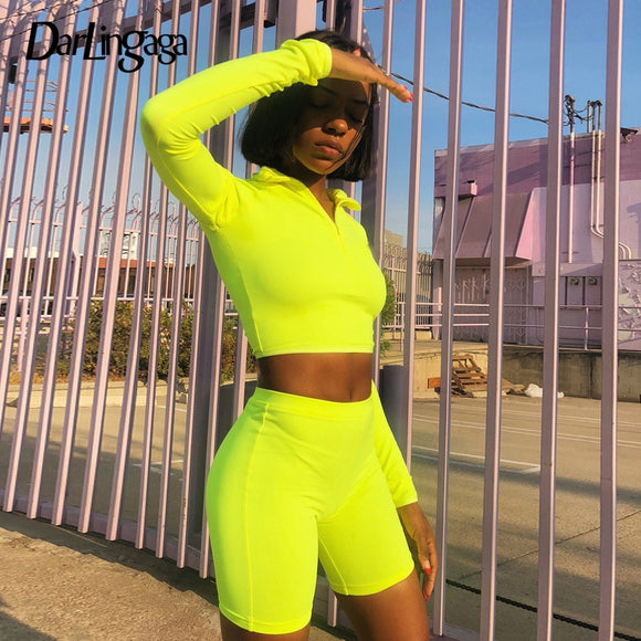 Darlingaga Fluorescent green high neck crop tops shorts 2 piece set women elastic long sleeve women's suit tracksuit zipper 2018