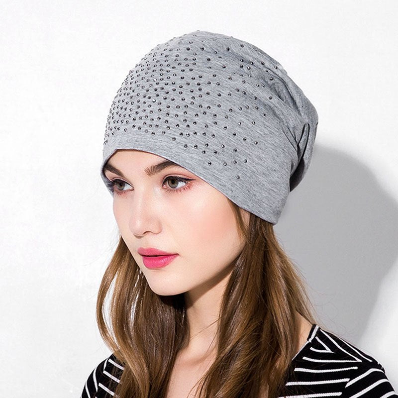 f47ee75d8fe GZHilovingL 2017 Winter Women Ladies Beanie Hats Caps Diamonds Baggy Slouch  Spring Autumn Thin Polyester Beanies