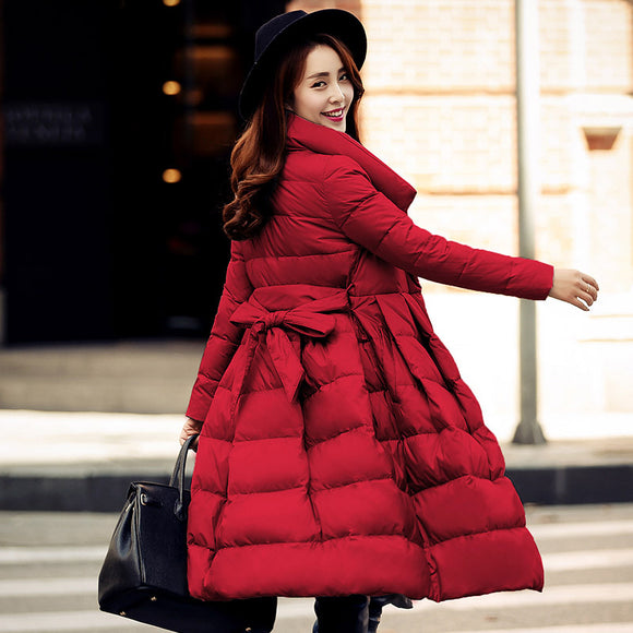 drawstring waist ladies quilted and jackets white duck down long women winter women parka outerwear puffer coats skirt dress