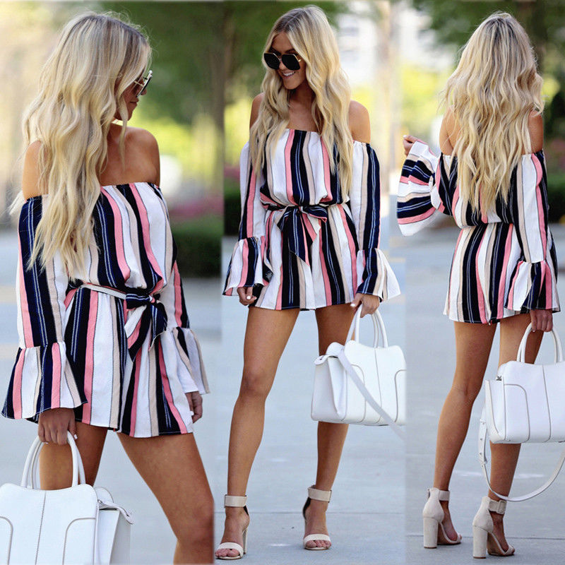 42be42203039 Jumpsuits for Women 2018 Women Summer Off Shoulder long flare sleeve  striped Romper Sexy Streetwear Shorts
