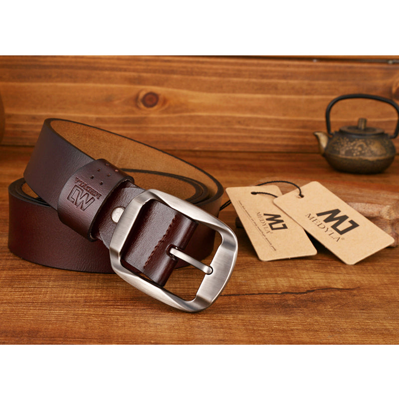 f045427d75b6 MEDYLA Dropship High Quality Genuine Leather Luxury Strap Male Belts For Men  Jeans Casual Belt Pin