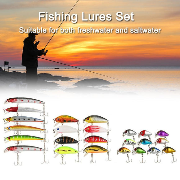 56PCS Fishing Lures Set Mixed Minnow Lot Lure Bait Crankbait Tackle Bass Fishing Wobblers Suitable For Different Kinds Of Fishes