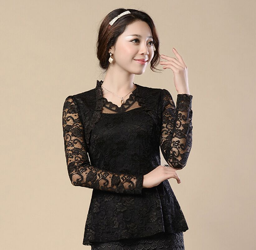 100258de114dc M-4Xl Plus Size Women Clothing Elegant Ruffles Lace Tops Fashion Flora