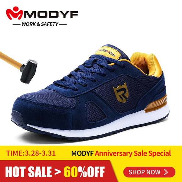 MODYF Mens Steel Toe Work Safety Shoes for Men Breathable Lightweight Anti-smashing Non-slip Reflective Protective Shoes