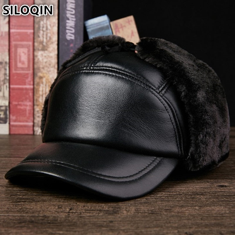 SILOQIN Genuine Leather Hat Winter Men s Cap Bomber Hats Extra Thicker Plus  Velvet Warm Sheepskin Earmuffs 32e227788cbc