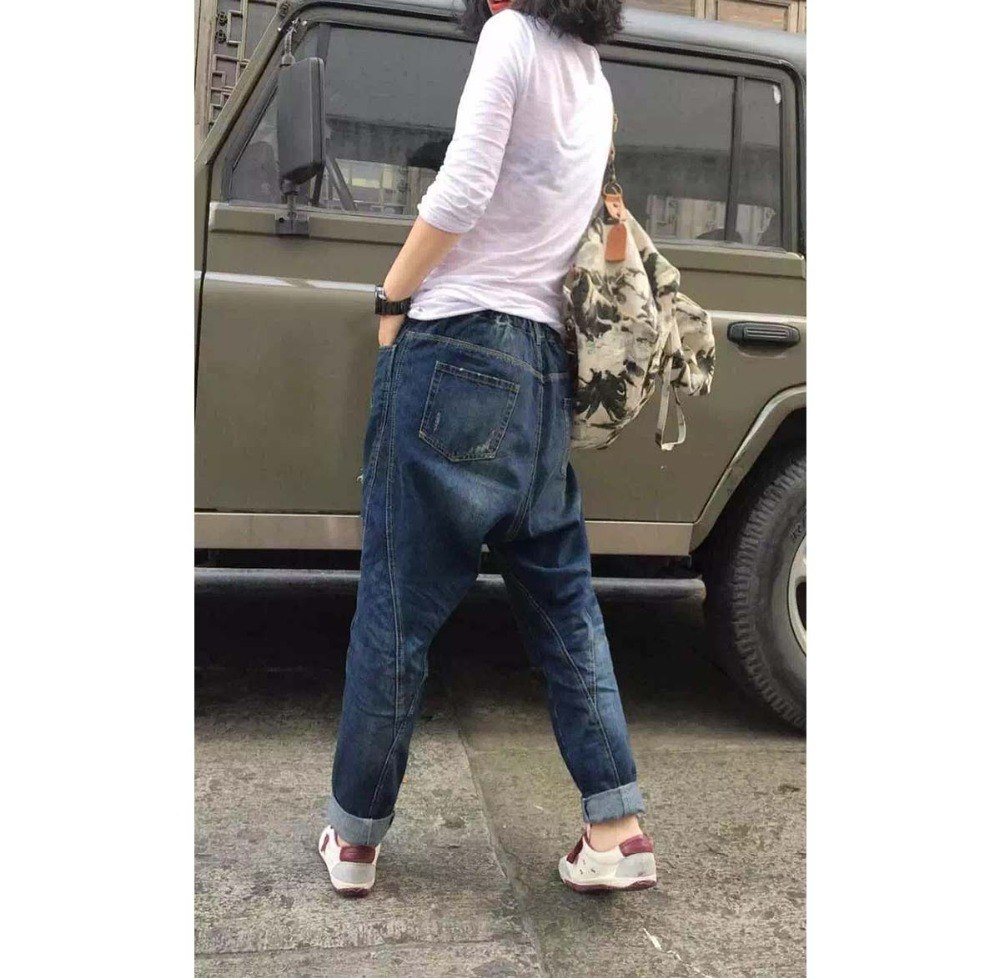 Ripped Jeans Women Harem Hip Hop Denim Pants Loose Baggy ...