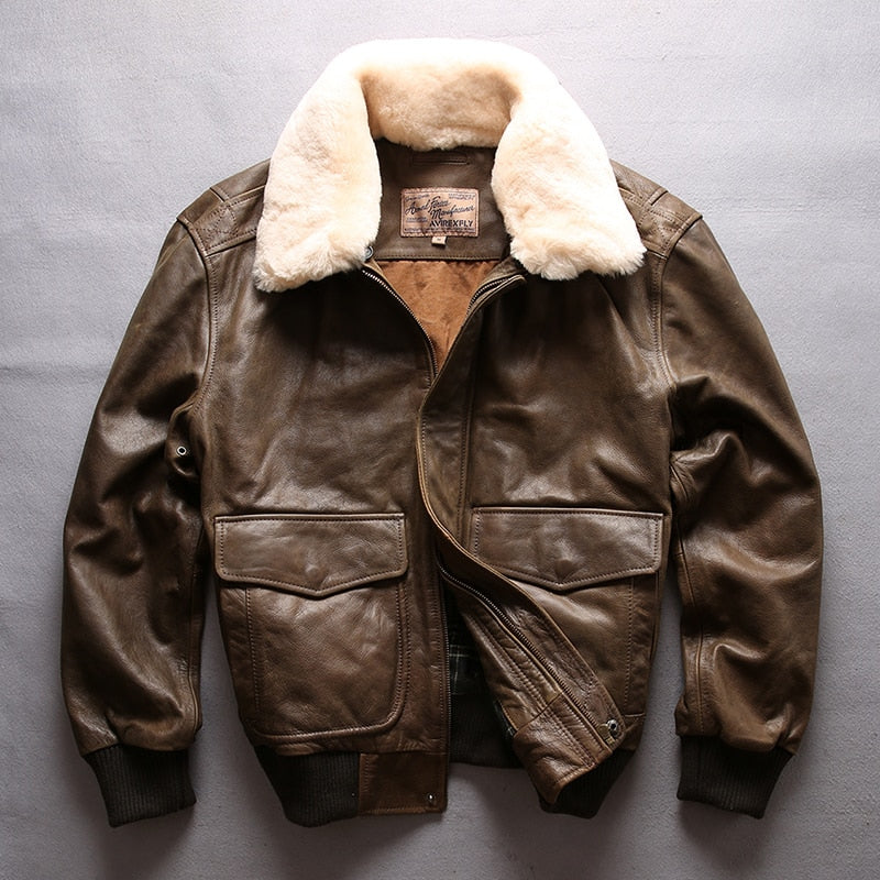 2627266ad99 AVIREX FLY Real Genuine Leather jacket Men Bomber Jacket Fur Collar Cowskin  Casual Air Force Flight