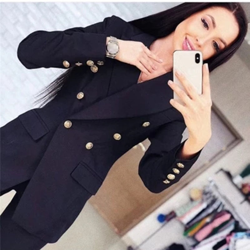 39bd7f8ddfb7 Set women s fashion button design long-sleeved small suit jacket pants 2  sets of women s