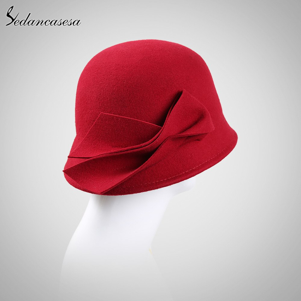 24bd73d217f Sedancasesa New Autumn Winter Hat Female England Wool Felt Hat Retro Cloche  Hats Hot selling Warm