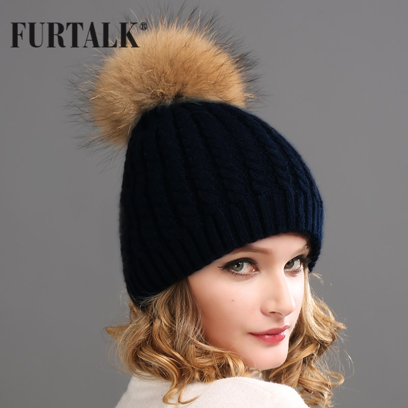 6380af0c058 FURTALK Real Fur Hat Big Raccoon Pom Pom Hat Cashmere Wool Fox Pom bobble  hat Winter