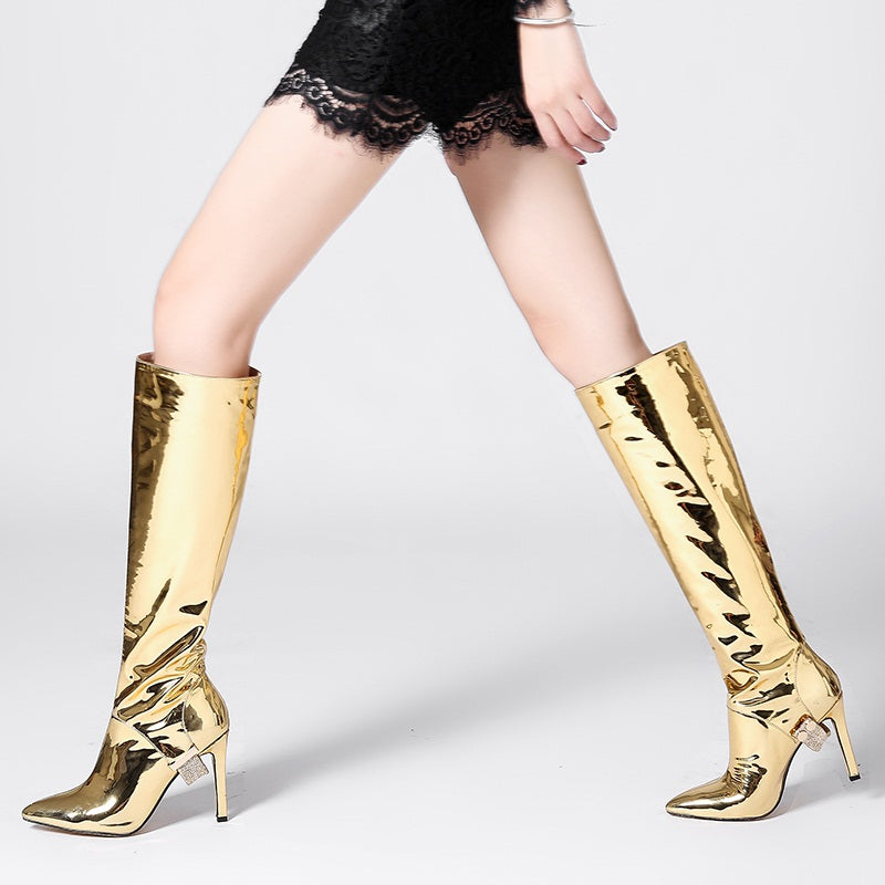 72e36508895b autumn winter boots metal patent leather knee high boots sexy high heels  dress dance shoes woman