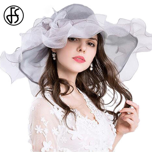 FS Vintage Kentucky Derby Hats For Women Summer Fashion Big Flower Organza Sun Hat Wide Brim Beach Casual Beach Chapeu Feminino