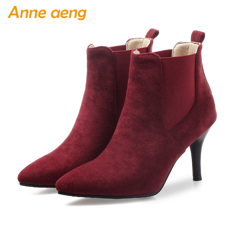 ad4b1538204 Autumn winter women boots high thin heels ladies ankle boots elastic band  elegant women shoes wine