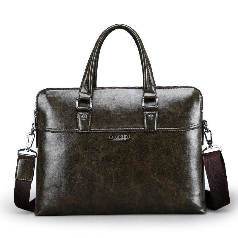 c6ef9675b713e Luxury Cow Genuine Leather Business Men s Briefcase Fashion Shoulder B
