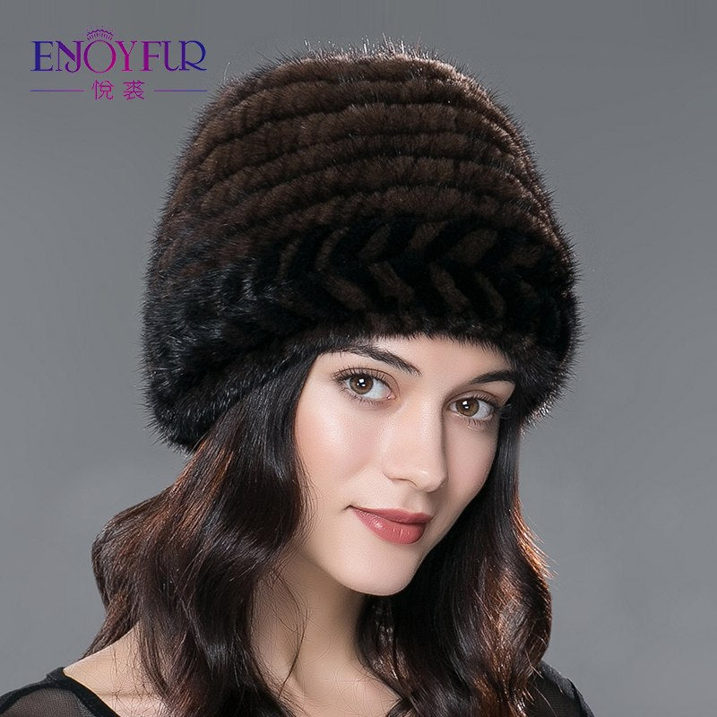 5605cbc30b8 Women s fur hat for winter warm knitted mink fur beanies caps 2018 brand new  fashion luxury