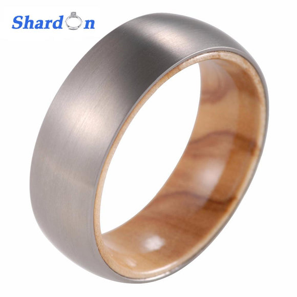 SHARDON 8mm Men's Titanium Ring with Koa wood inlay Domed Engagement ring with Matte finished Wedding band US size from 8-13