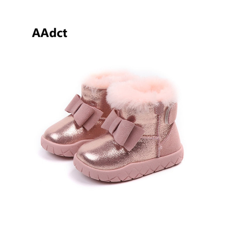 a42e77e6f28c AAdct 2018 winter new baby boots Leather real hair bow little girls snow  boots plus cotton