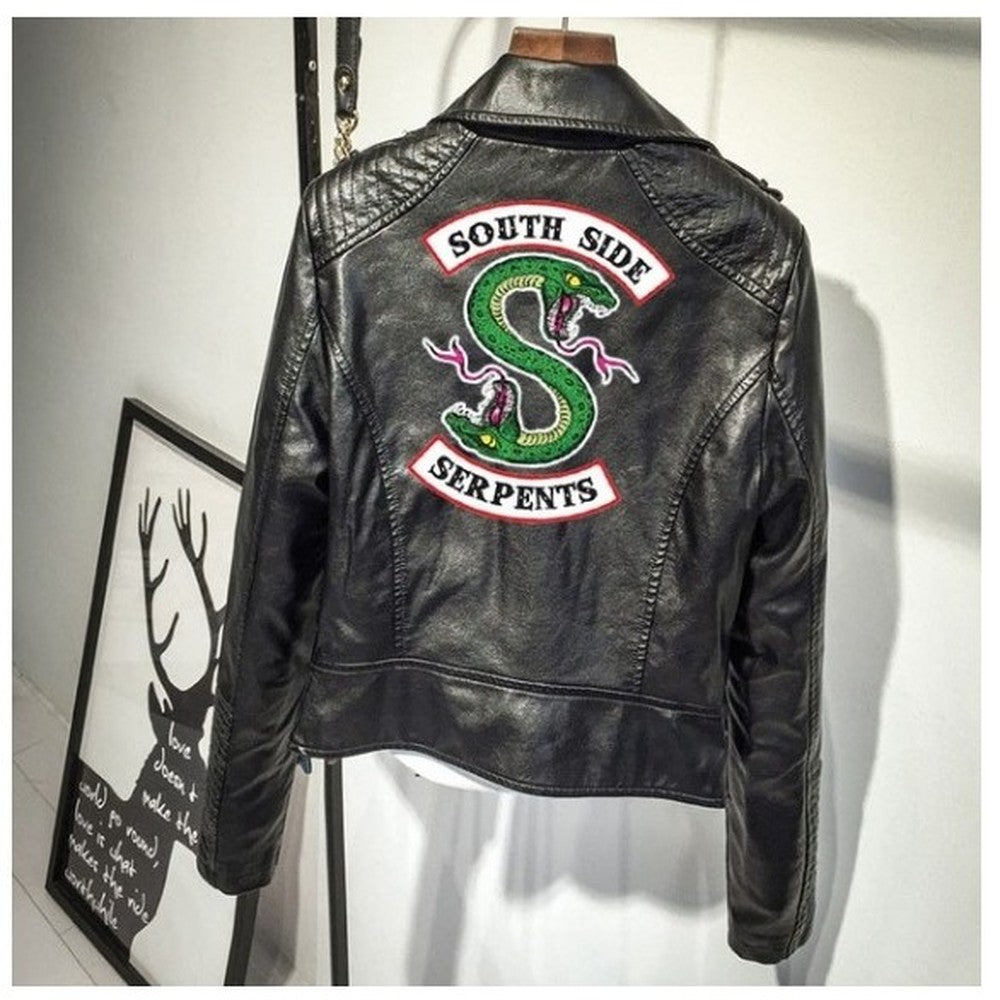 Print Logo Southside Riverdale Serpents Pu Leather Jackets For Women Riverdale Serpents Streetwear Leather Coat Hoodie