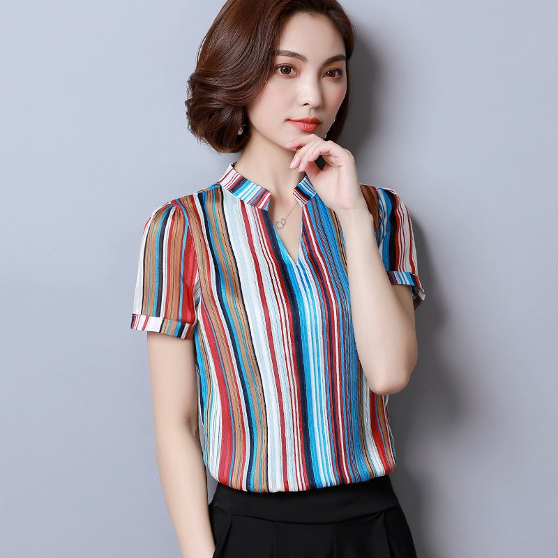 775c9ffe9b7 Women s Fashion woman blouses Short Sleeve summer tops print striped C