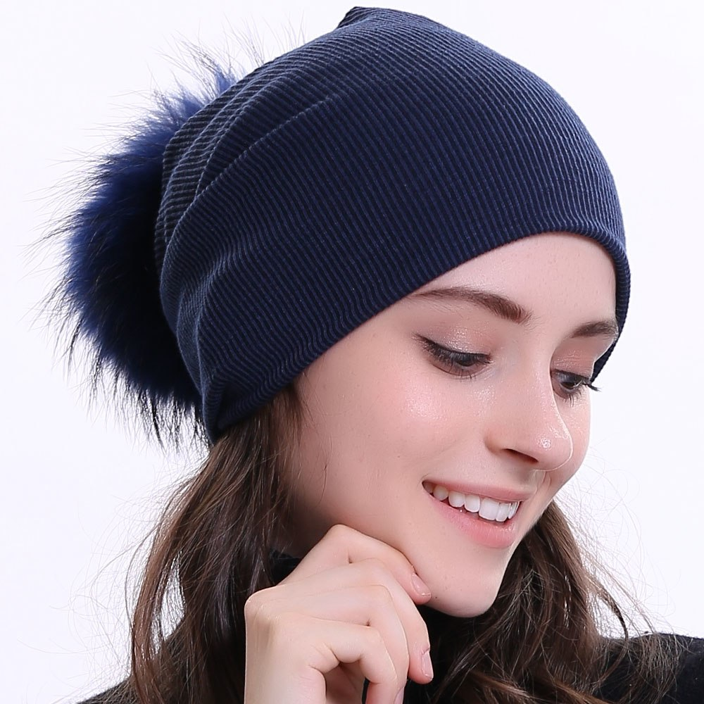 1303be3fee4 Geebro Women s Winter Beanie Knitted Ribbed Beanies Hat with Pompom Cap  Solid Color Slouch Hats Skullies