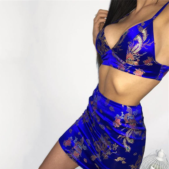 Vintage Chinese Phoenix Embroidery Satin Two 2 piece set Summer Deep V Cropped Bra And Mini Skirt Sexy Party Outfits For Women