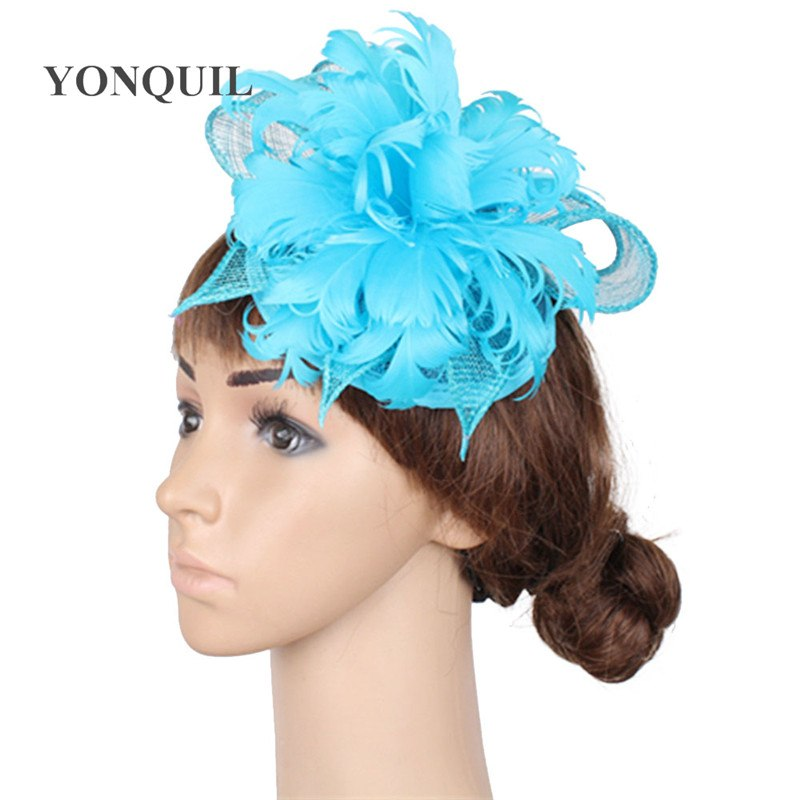 5931ab5f49d26 Green OR multiple colors sinamay hats feather flower fascinators for party  hats bridal hair accessories cocktail