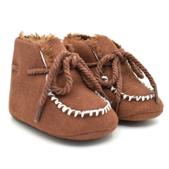 Warm Winter Straps Shoes Baby Boots Infants Warm Fur Wool Girls Baby Leather Boots Anti-Slip Shoes