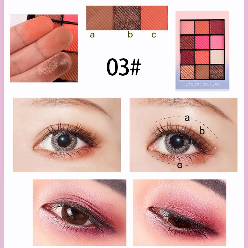New HOLD LIVE 12 Colors School Shimmer Matte Eyeshadow Palette Waterproof Red Pigment Eye Shadow Powder