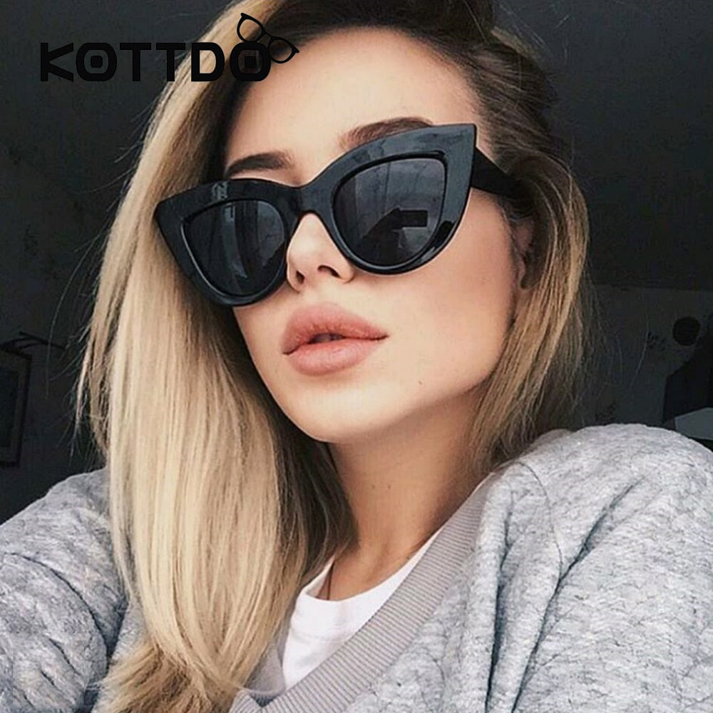 ae1ab660c0 Rose Gold Cat Eye Sunglasses For Women Pink Mirror Shades Female Sun Glasses  Black White Coating