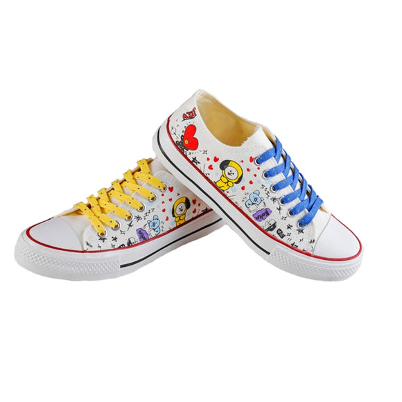 New Kpop BTS BT21 Bangtan Boys Canvas Shoes For Women Men Casual Cartoon Print Low Tops Girls Socks Shoes JUNGKOOK JIMIN V Suga
