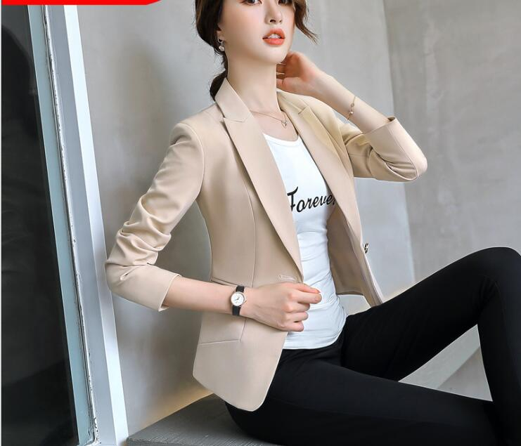 2a82271c275 New Fashion business and office wear Blazer women Elegant Slim Jacket Solid  Apricot Black color Ladies