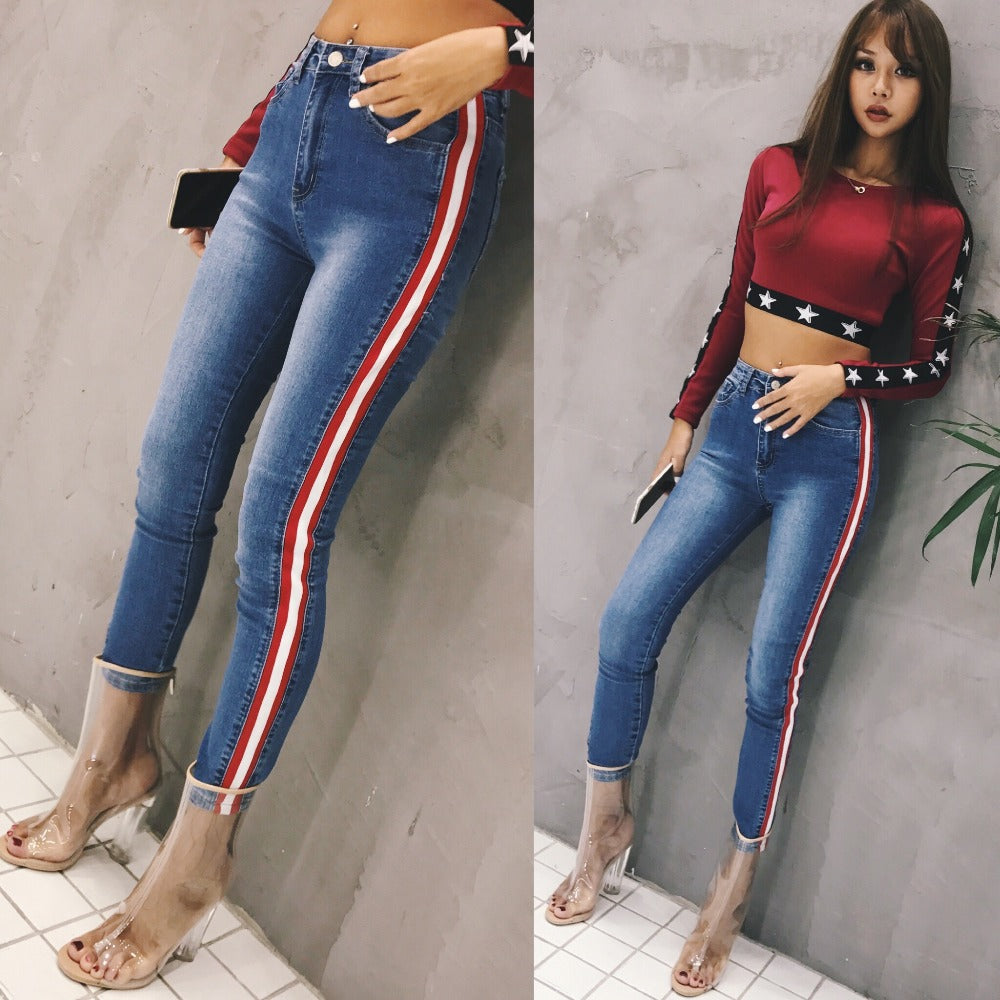 sexy stretch skinny jeans chic women high waist side. Black Bedroom Furniture Sets. Home Design Ideas