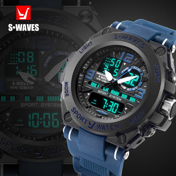 SWAVES Big Brand Dual Display Watch Quartz Men's Watches Army Sport Casual Waterproof Digital Wristwatches Plastic Clock Relogio