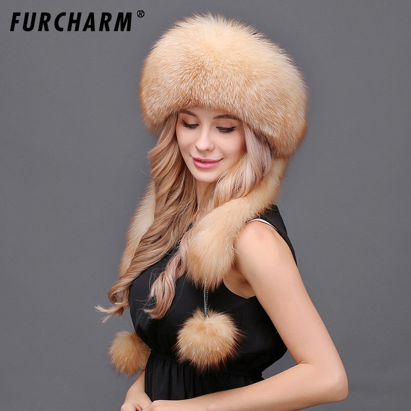 96f9293ad25 Women s Winter Hats Genuine Fox Fur   Rabbit Fur Hat with 2 Pompons Whole  Fox Tail