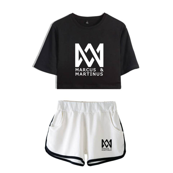 New Fashion Marcus and Martinus Short Sleeve Printed Crop Top + Shorts Sweat Suits Women Tracksuits Two Piece Outfit Plus Size