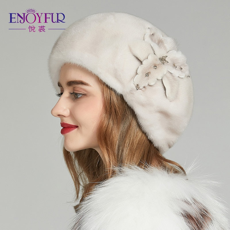 ENJOYFUR Whole Mink Fur Winter Hats Women Real Mink Fur Berets Warm Genuine  Fur Caps With ... ccc7c7a3d1b