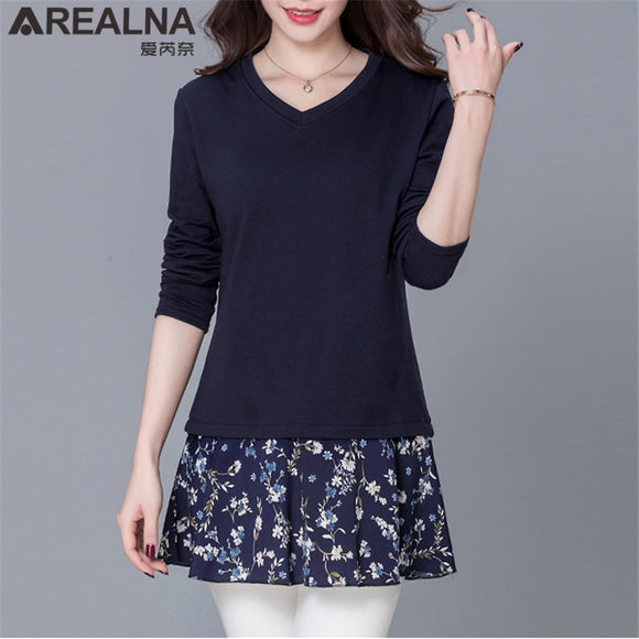 Autumn Winter Women Casual Tops Patchwork Floral Skirt Long Shirts Plus Size Ladies Slim Long Sleeve Blouse Blusas Chemise Femme