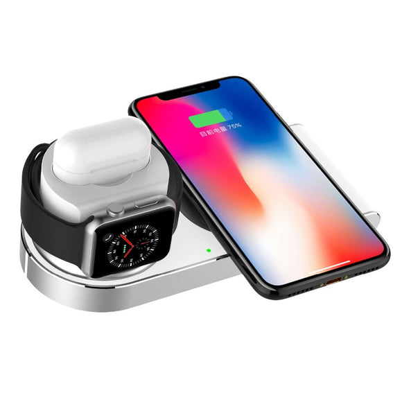 3 in 1 Wireless Charger For iPhone X,10W Fast Wireless Charger Pad Stand For Apple Watch Series 3/2/1 AirPods iPhone 8/8PLUS