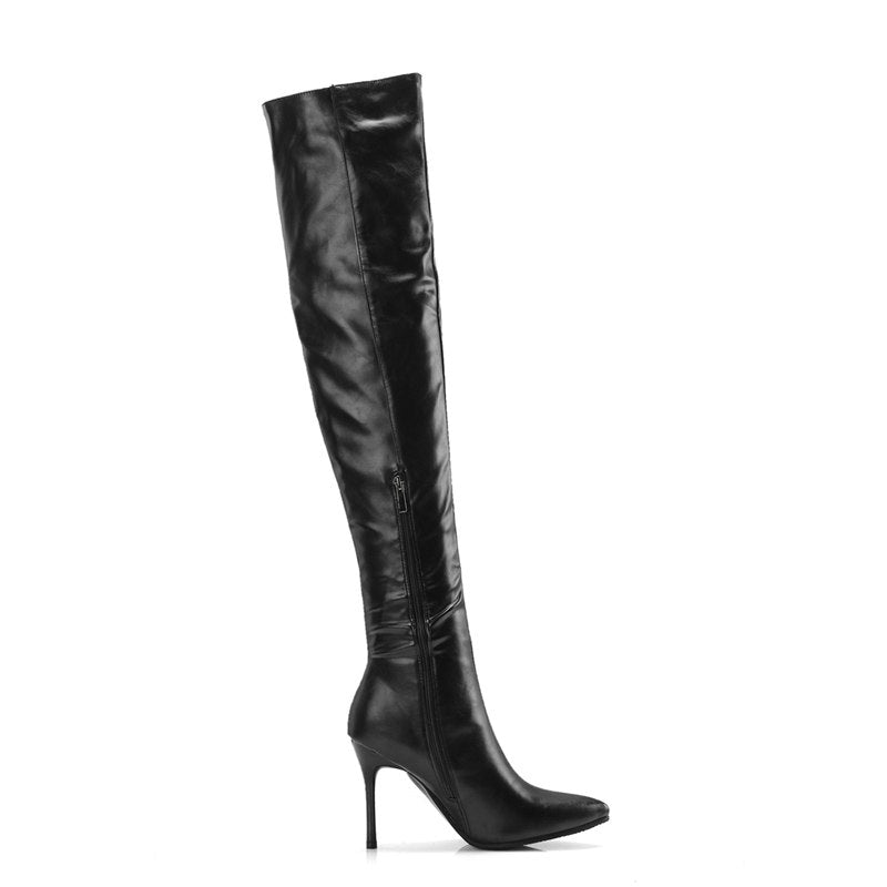 097059e082f Leather Fashion Over The Knee Boots For Women Shoes Designer Pointed Toe  Thigh High Thin Heel