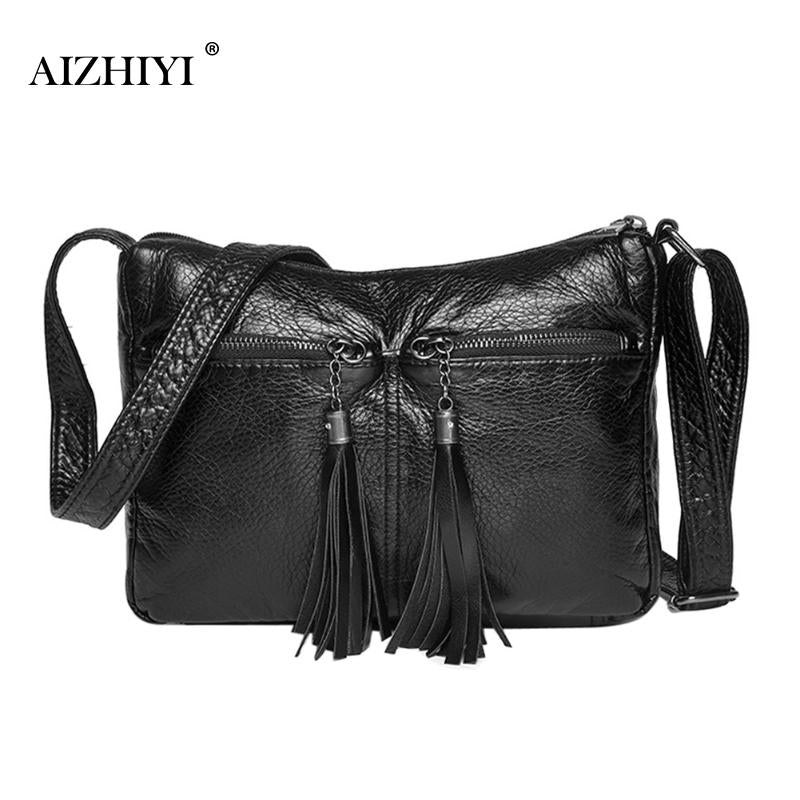 b85e16ad618e Women Tassel Vintage Soft Messenger Bags PU Leather Simple Fashion Black  Hobos Handbags Designer Female Crossbody