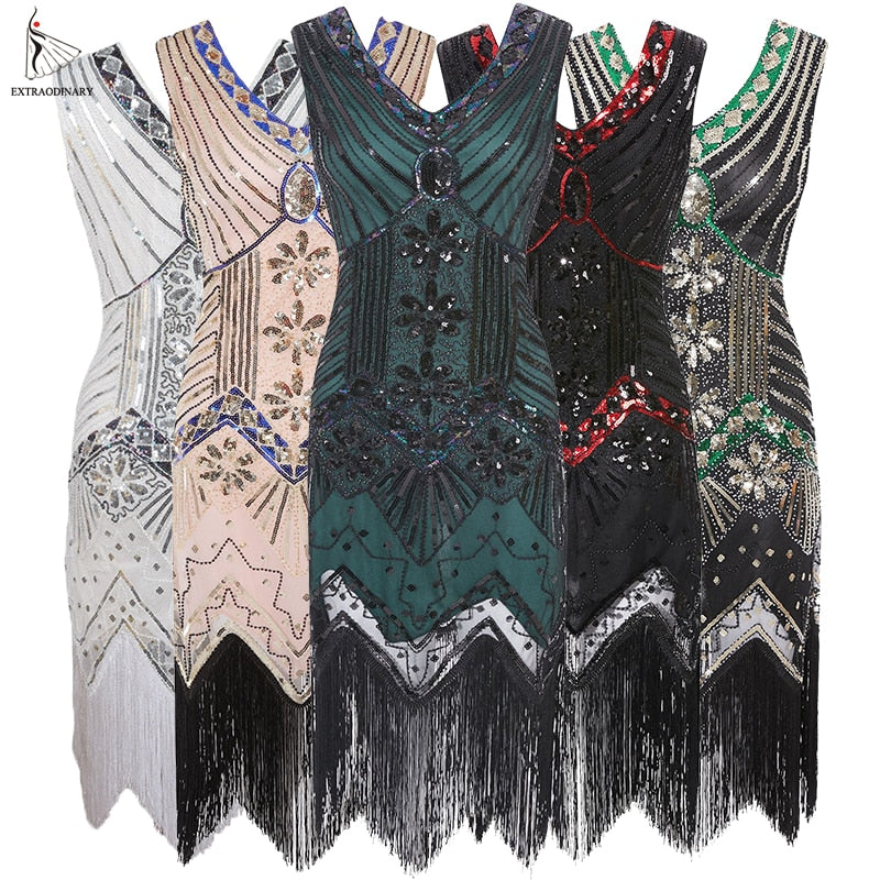 Women 1920 s Vintage Great Gatsby Dress Sequins Dress V-Neck Tassels  Bodycon Beaded Party ab90ab1529ca