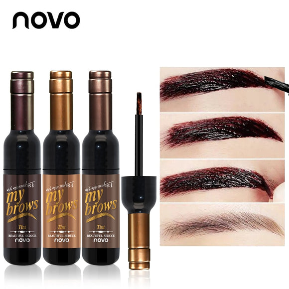 NOVO Eye Makeup Red Wine Peel Off Eye Brow Tattoo Tint Waterproof Long-lasting Dye Eyebrow Gel Cream Mascara Make Up Cosmetics-Makeup-Zodeys-01dark brown-Zodeys