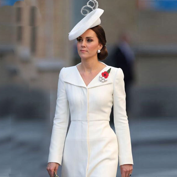 2018 Spring Kate Middleton Princess White Dress Solid Turn-Down Collar A-Line Dresses