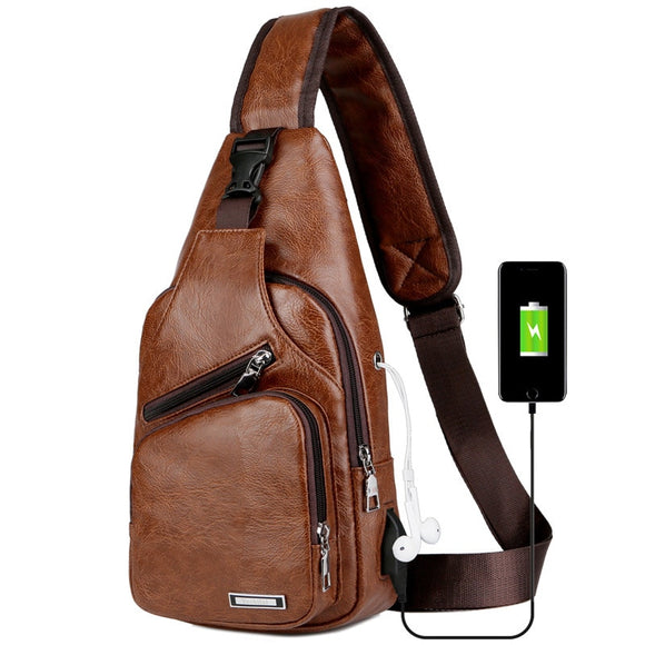 New Arrival Men's USB Charging Chest Bags Men Messengers Bag Wateproof PU leather Crossbody Shoulder bags