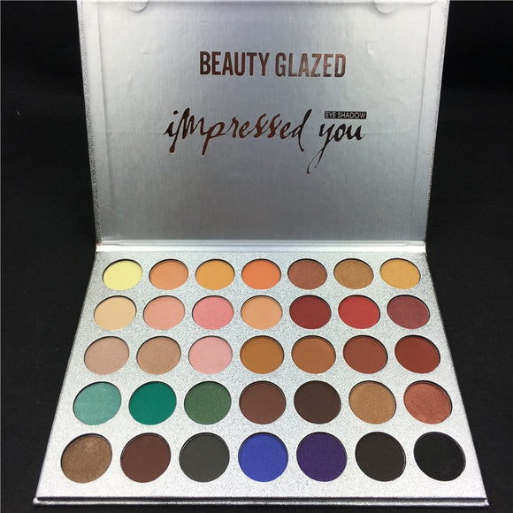 BEAUTY GLAZED 35 Colors Shades Eyeshadow Palette Diamond Jacly Hill Rainbow Earth Warm Color Shimmer Matte Eyeshadow Pallete-Makeup-Zodeys-63COLOR-Zodeys